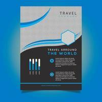 Modèle de Flyer de voyage d'entreprise design bleu incurvé vecteur