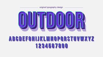 Afficher la police artistique des ombres 3D majuscules violettes vecteur