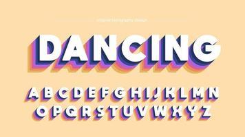 Typographie majuscule disco rétro colorée vecteur