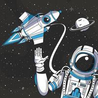 Astronaute dans la caricature de dessin de l'espace