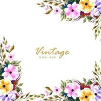 Cadre floral vintage décoratif vecteur