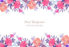 Conception de carte de cadre floral de mariage coloré décoratif vecteur