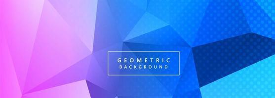 Bannière de polygone violet et bleu abstrait avec des points