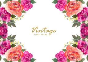Peint à la main coloré floral décoratif vintage vecteur