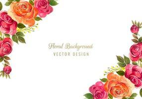 Cadre floral décoratif coloré vecteur