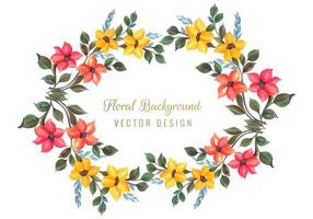 Conception de cadre floral coloré décoratif vecteur