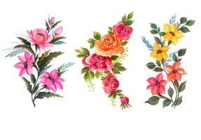 Ensemble de plusieurs bouquets de fleurs vecteur