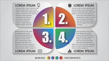 Infographie d'entreprise avec des icônes multicolores en 4 étapes vecteur