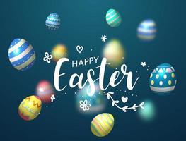 Joyeux fond de Pâques avec des oeufs décorés brillants vecteur