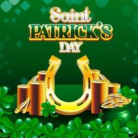 Saint Patrick's Day Pile de pièces d'or et fer à cheval porte-bonheur avec trèfles vecteur