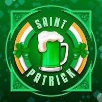 Bière verte de la Saint Patrick en badge vecteur