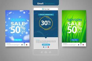 Ensemble de ventes par e-mail pour le modèle de médias sociaux