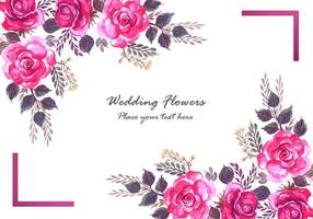 Fleurs décoratives colorées et carte cadre violet