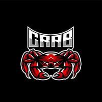 Emblème de personnage de jeu de crabe vecteur