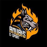 Badge de personnage Anubis esports vecteur