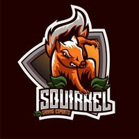 Emblème de personnage d'esport écureuil vecteur