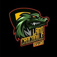 Emblème de personnage de crocodile esports vecteur