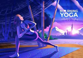 Femme faisant du yoga à l'intérieur du pavillon de yoga avec vue sur la ville du matin