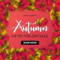 Vente d'automne fond rouge avec cadre de feuilles vecteur