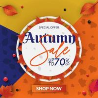 vente automne fond coloré avec des feuilles d'automne et cadre cercle vecteur