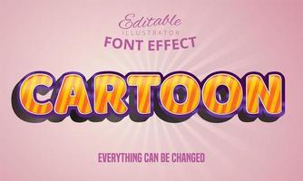Effet de texte rayé de dessin animé vecteur