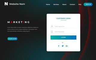 Page d'accueil du site Web Mineral Blue avec un design incurvé vecteur