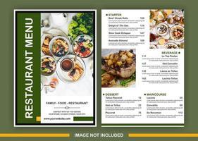 Modèle de menu vert avec espace pour 3 images vecteur