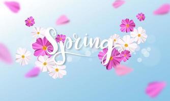Bannière de conception fond de printemps avec une belle fleur rose et blanche