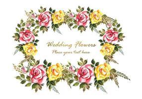 Fond de carte de mariage romantique fleurs vecteur