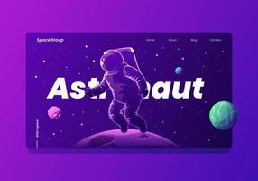 Page d'atterrissage d'un astronaute dans l'espace avec des planètes et des étoiles