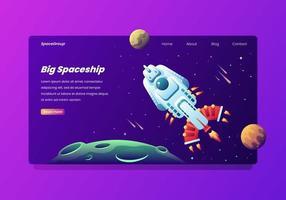 Page de destination du grand vaisseau spatial vecteur