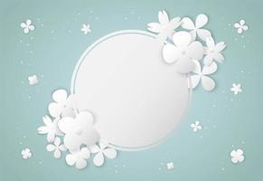 Art de papier de fleurs blanches et cadre de cercle vecteur