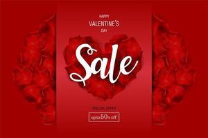 Affiche de vente de la Saint-Valentin avec rond de cadre en roses vecteur