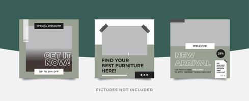Modèle de pack de médias sociaux de meubles modernes
