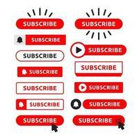 Ensemble de boutons d'abonnement rouge vecteur