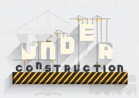 En construction design plat avec texte suspendu à des grues vecteur