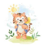 dessin animé tigre avec sac à dos camping