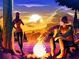 Couple Camping sur un lac entouré de montagnes
