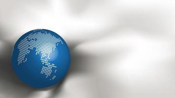 Carte du monde en pointillé métallique abstraite sur sphère bleue sur tissu blanc vecteur
