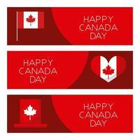 ensemble de cartes de fête du canada heureux