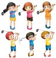 Enfants jouant au golf vecteur