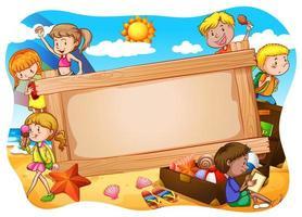 Bannière et enfants vecteur