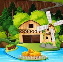Une scène de maison rurale vecteur