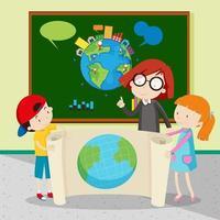 Étudiants détenant une grande carte du monde vecteur