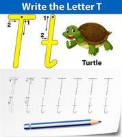 Feuilles de calcul de l'alphabet de traçage de la lettre T vecteur