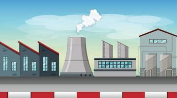 Pollution de la scène à thème d'usine dans la nature vecteur