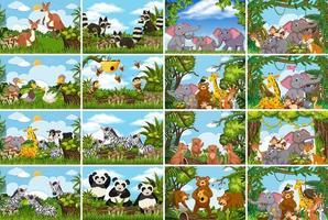 Collection de scènes d'animaux dans la nature vecteur