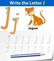 Feuilles de calcul de l'alphabet traçant la lettre J vecteur