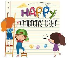 Carte de fête des enfants heureux