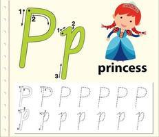 Feuilles de calcul de l'alphabet traçant la lettre P vecteur